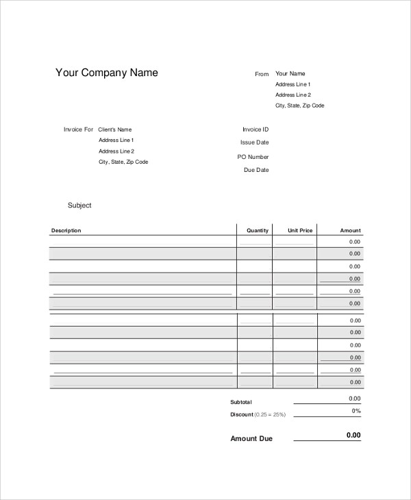 9+ Blank Invoice Samples Sample Templates - blank invoice samples