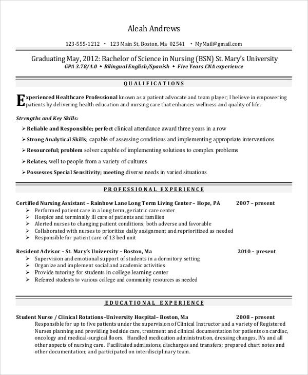 nursing student resume sample skills