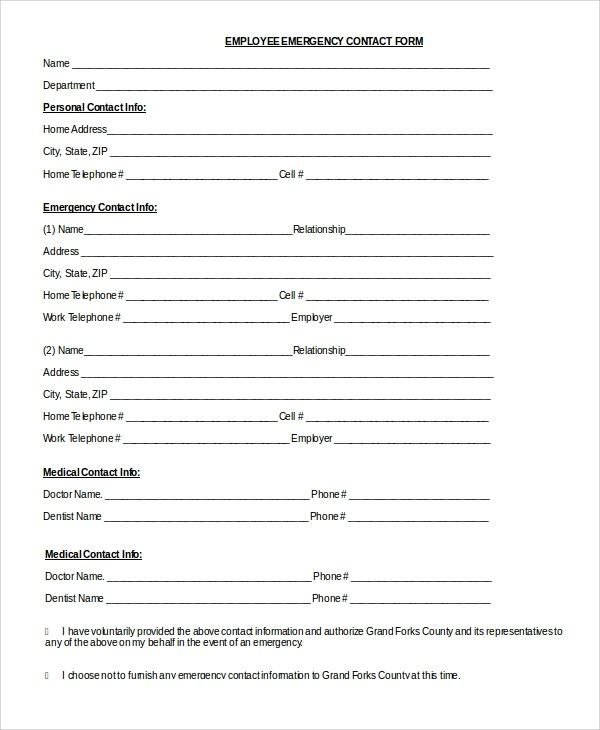 8+ Sample Emergency Contact Forms Sample Templates - emergency contact form