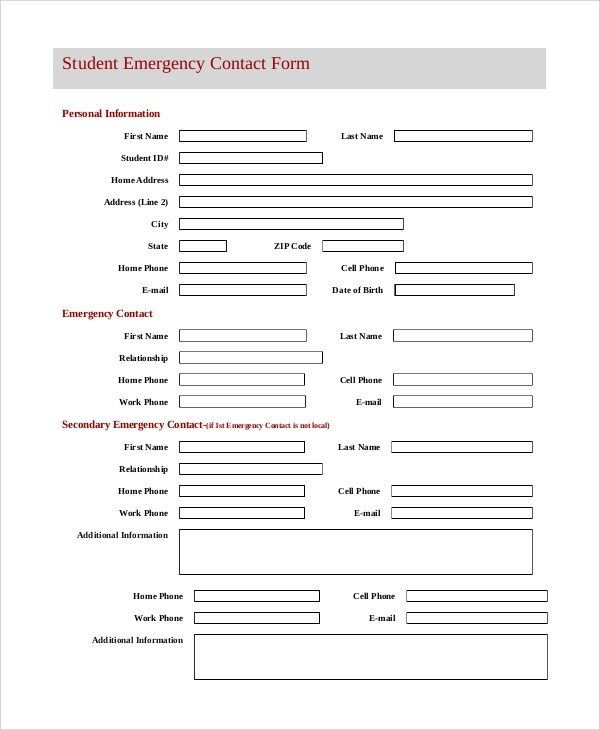 8+ Sample Emergency Contact Forms \u2013 PDF, DOC Sample Templates - emergency contact form template
