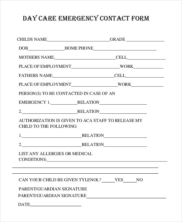 emergency contact forms for daycare - Canasbergdorfbib