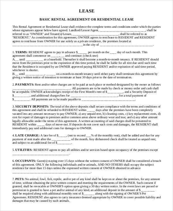 Sample Basic Rental Agreement - 8+ Examples in PDF, Word - rental lease agreement