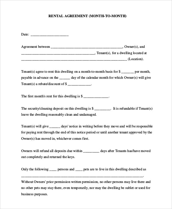 8+ Basic Rental Agreement Samples Sample Templates - month to month lease agreement example