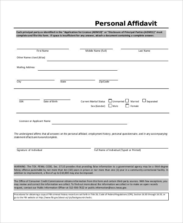 10+ Affidavit Samples Sample Templates - affidavit sample format