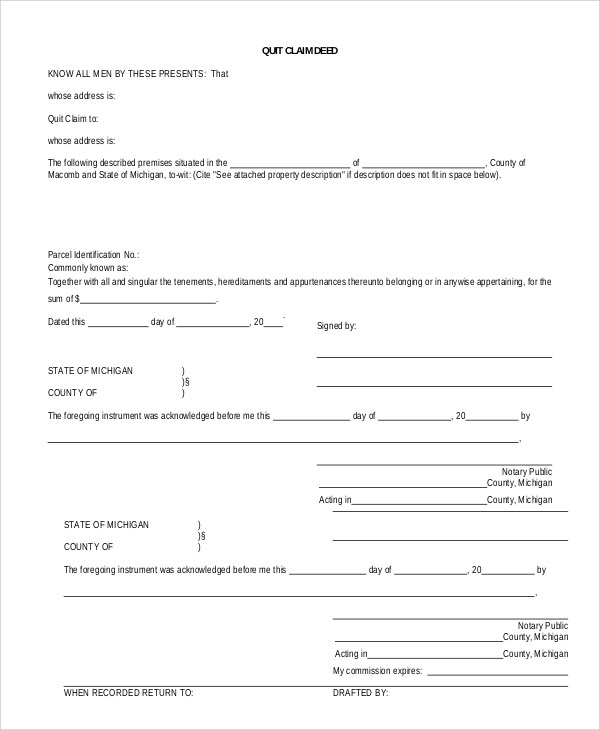 8+ Sample Quick Claim Deed Forms Sample Templates