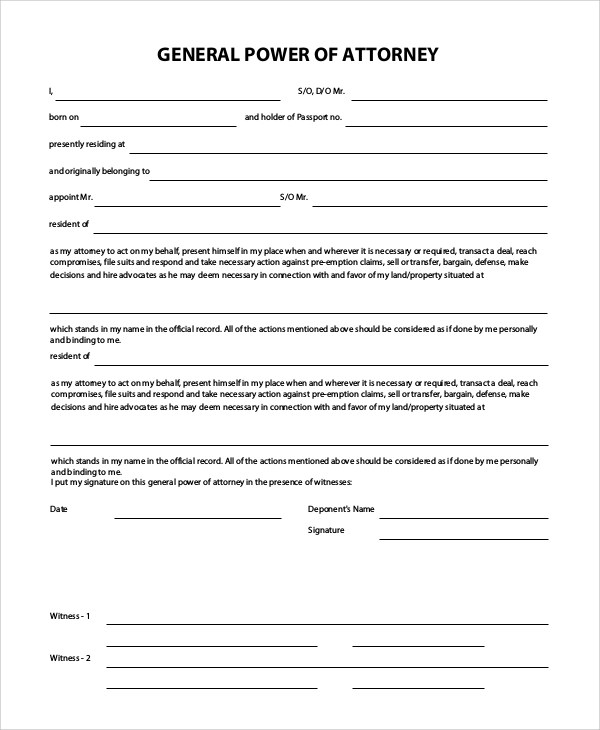 8+ General Power of Attorney Samples Sample Templates - general power of attorney form