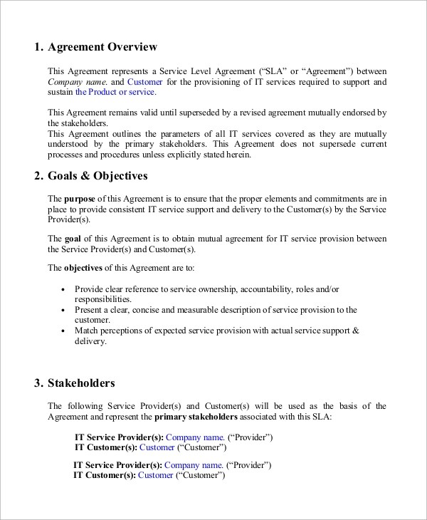 9+ Sample Service Level Agreements Sample Templates - service level agreement template