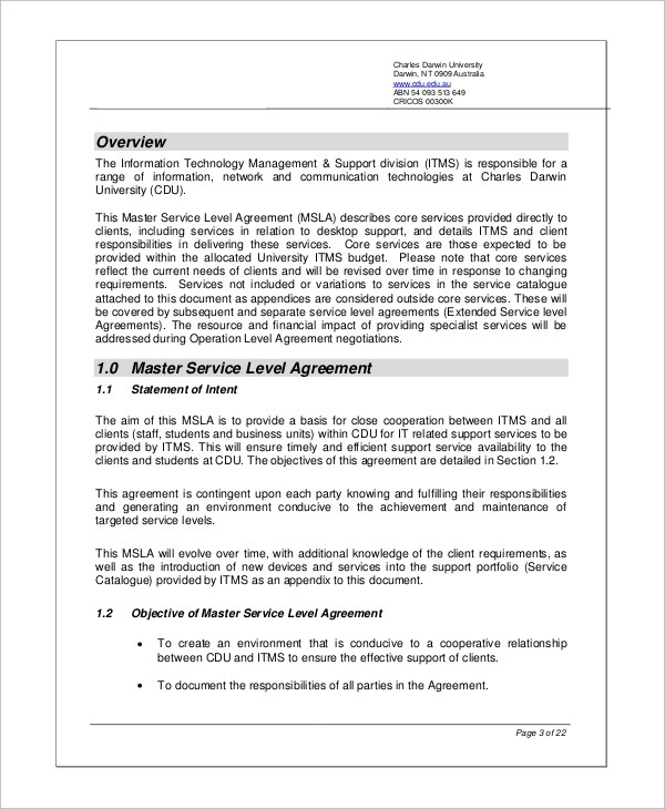 sample service level agreement lukex - sample master service agreement