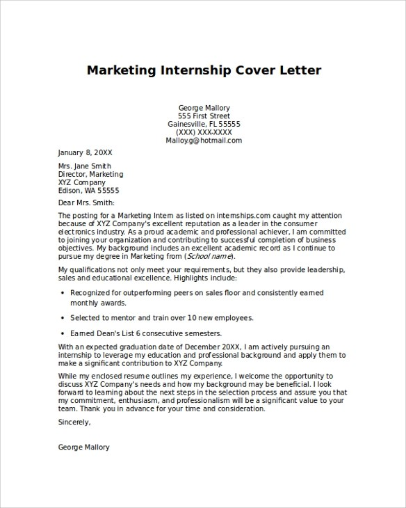 9+ Cover Letter For Internship Samples Sample Templates