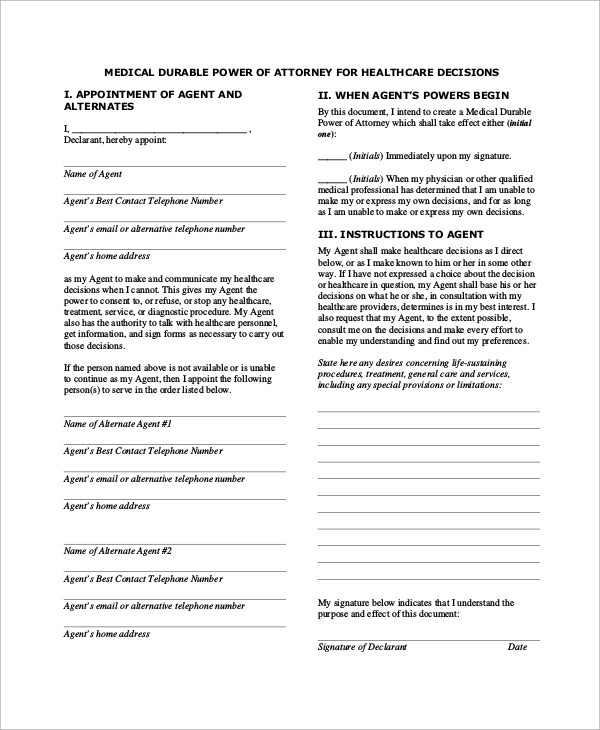 Medical Power Of Attorney Template Choice Image - Template Design Ideas - sample medical power of attorney form