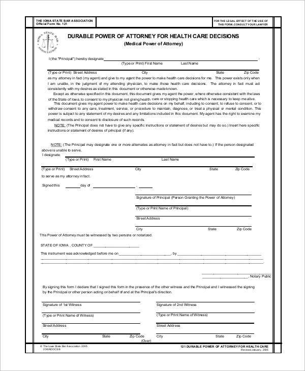 8+ Sample Medical Power of Attorney Forms Sample Templates