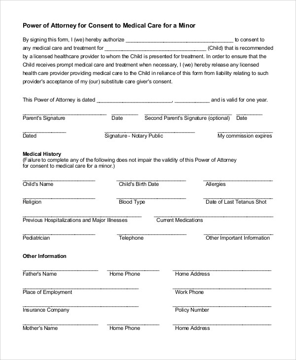 Doc#400518 Sample Medical Power of Attorney Form Example - sample medical power of attorney form example