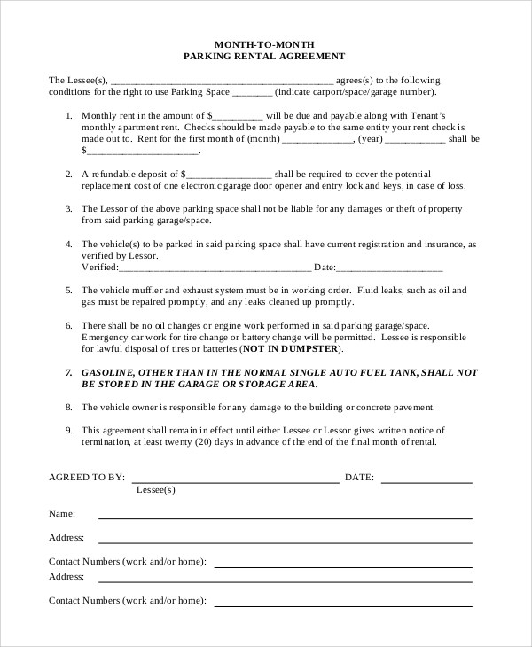 7+ Sample Month to Month Rental Agreements Sample Templates - Sample Monthly Rental Agreement
