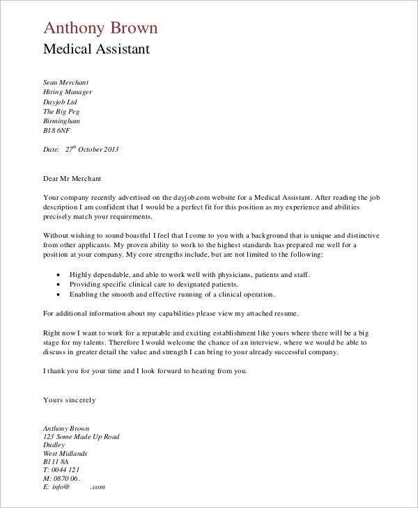 cover letter examples medical assistant