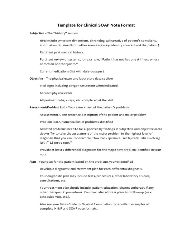 8+ SOAP Note Examples Sample Templates