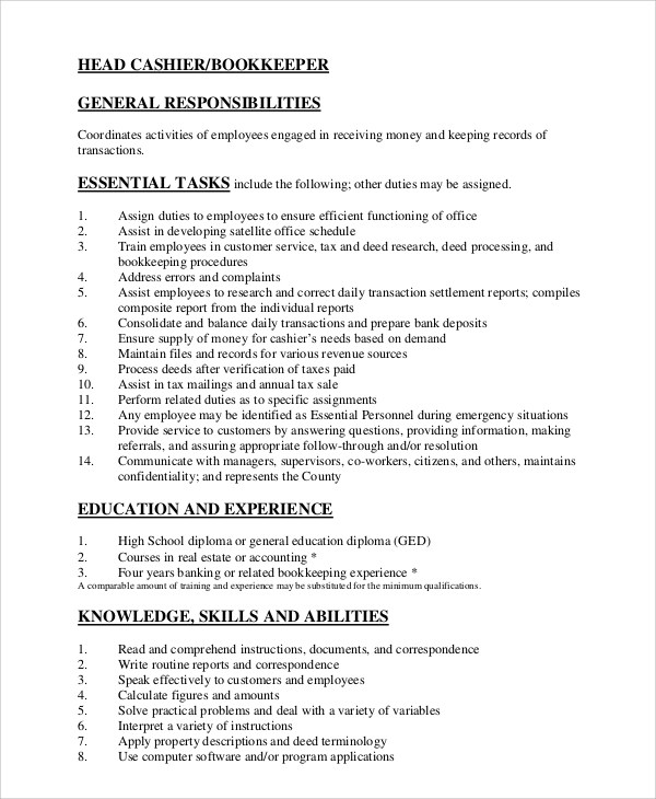 7+ Sample Cashier Resumes Sample Templates