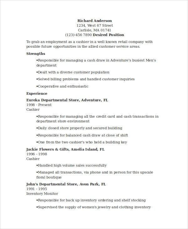 7+ Sample Cashier Resumes Sample Templates - how to put cashier on resume