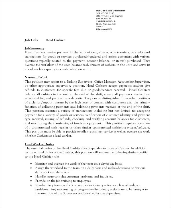 head cashier resume examples