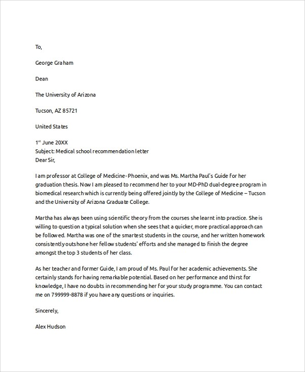 8+ Letter of Recommendation Examples Sample Templates