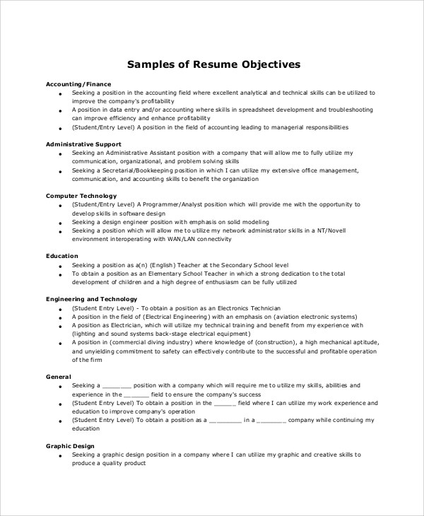 6+ Resume Objective Samples Sample Templates - strong resume objective
