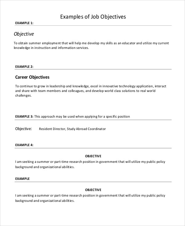 housekeeping objective for resume