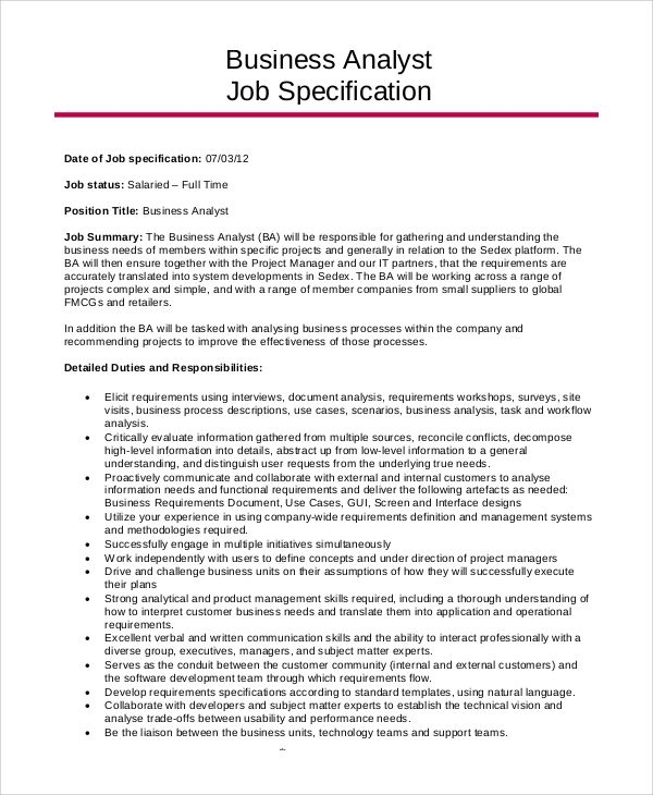 resume summary for business analyst