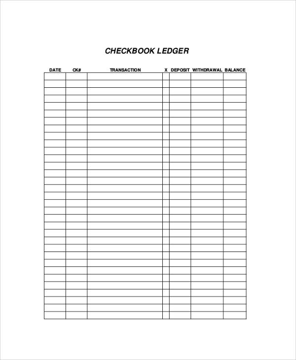 checkbook ledger form