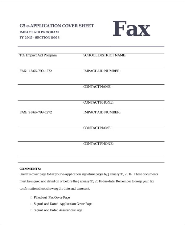 Sample Fax Cover Sheet - 9+ Examples in PDF - fax examples