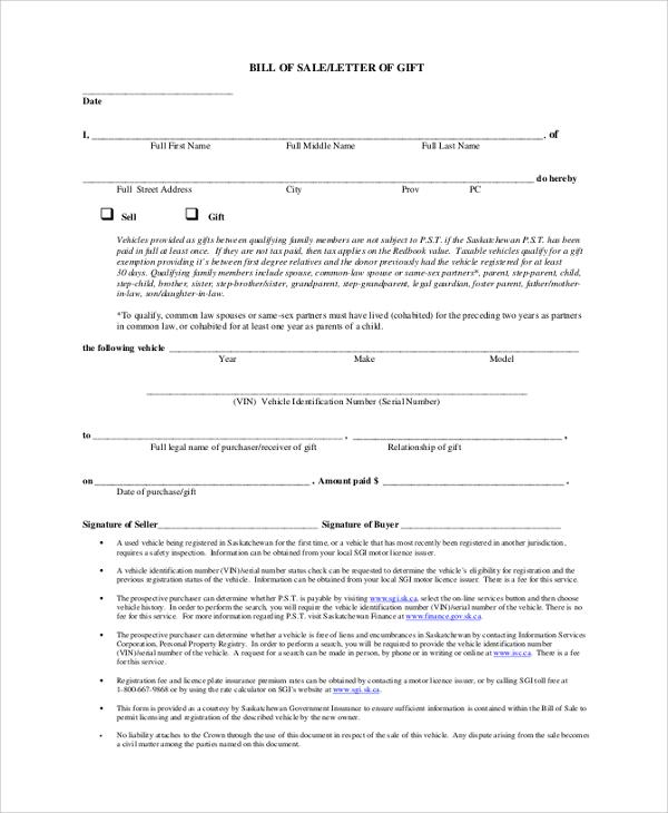 9+ Sample Bill of Sales Sample Templates