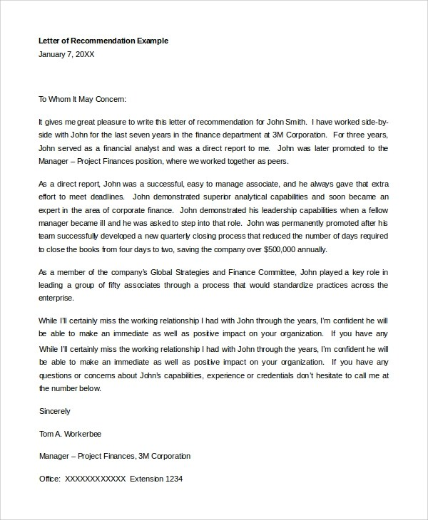 8+ Sample Letters of Recommendation For Student Sample Templates - letter of recommendation for college