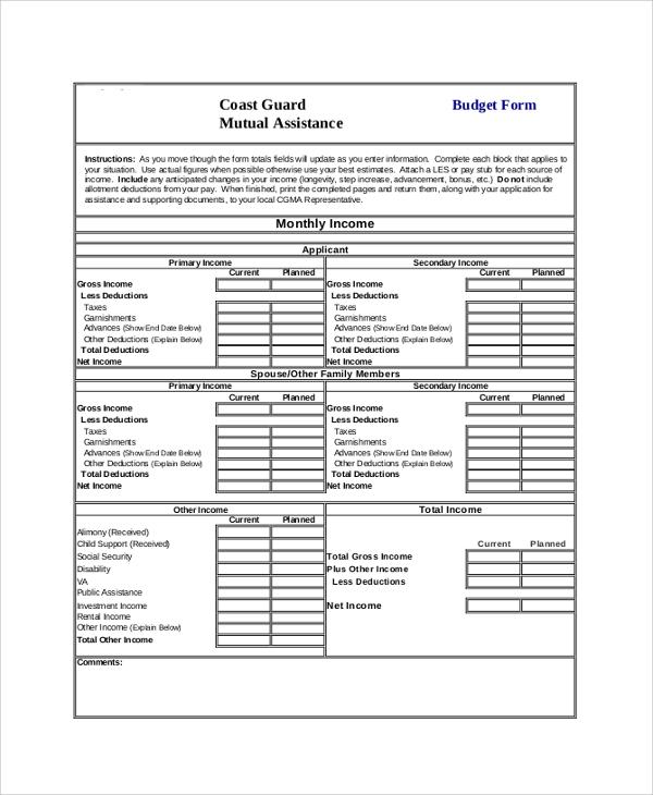 8+ Sample Budget Forms Sample Templates - budget form