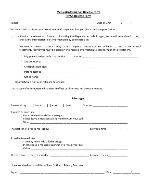 Hipaa Release Form For Spouse  Hr Intern Job Description Template