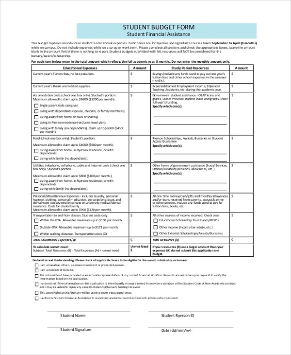 8+ Sample Budget Forms Sample Templates - sample budget form