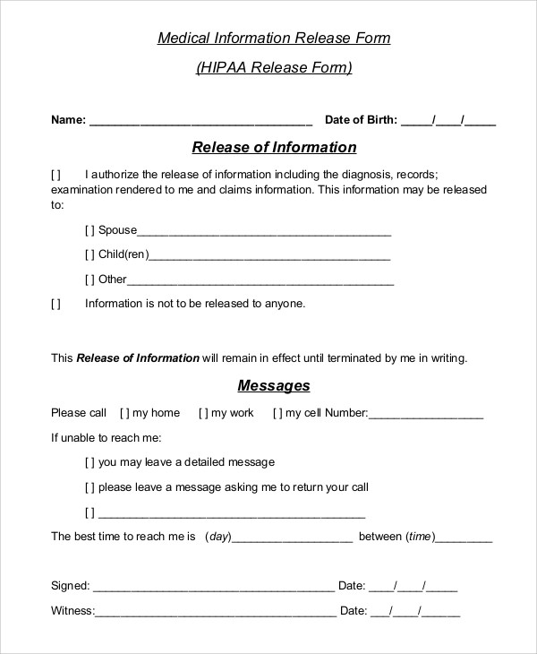 Sample Hipaa Release Form - 8+ Examples in PDF, Word - hipaa compliant release form