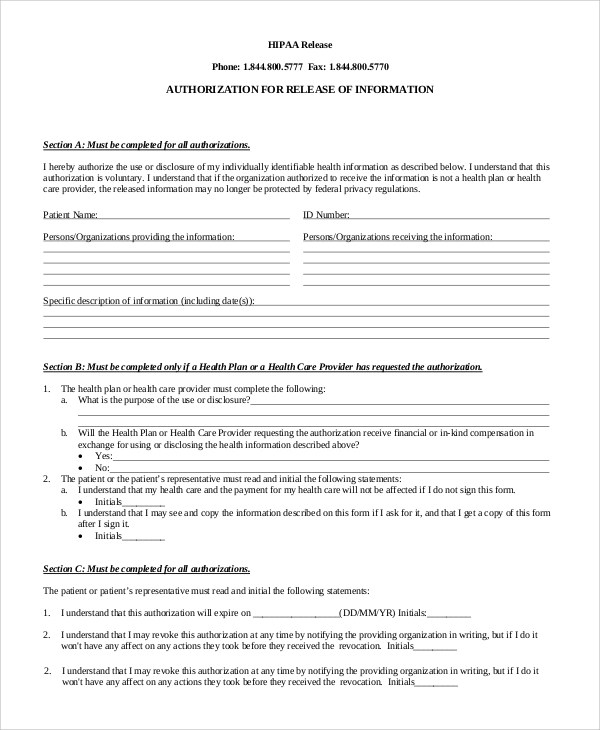 8+ Sample Hipaa Release Forms Sample Templates