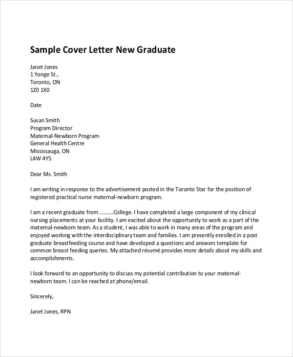 Sample Nursing Cover Letter - 7+ Examples in Word, PDF