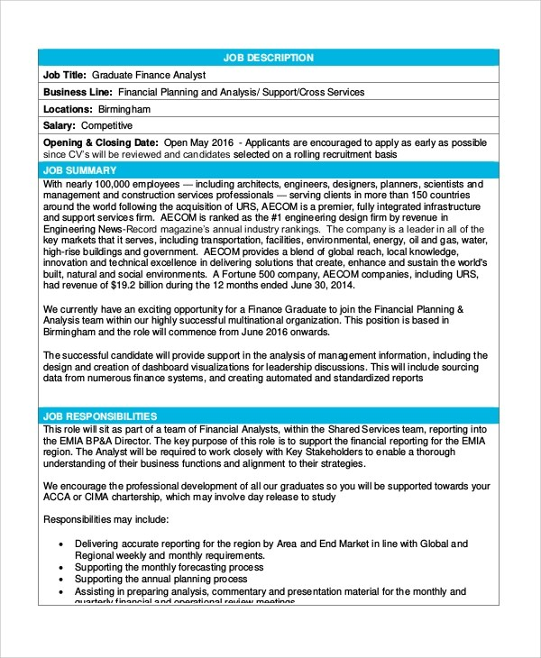 Sample Financial Analyst Job Description - 8+ Examples in PDF, Word - examples of financial reports