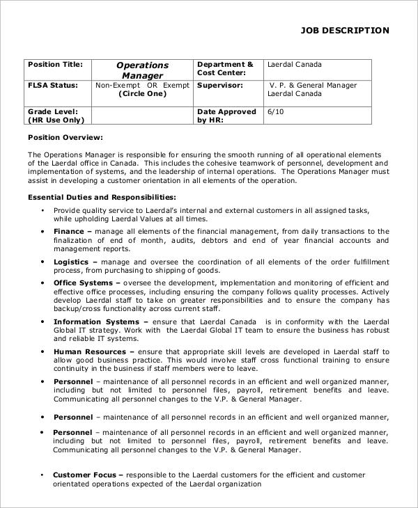 Sample General Manager Job Description - 8+ Examples in PDF, Word - financial manager job description