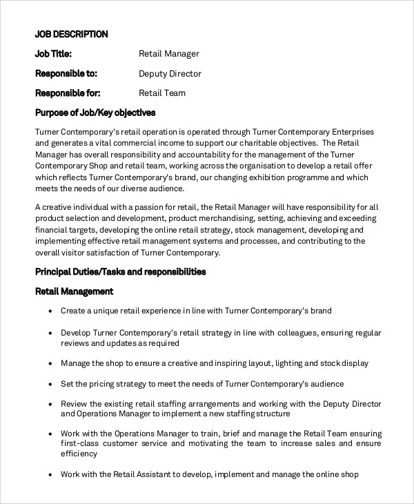 Stocker Job Description Sales Manager Job Description Template