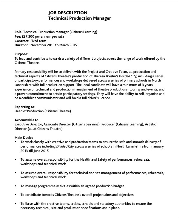 sample product manager job description 8 examples in pdf word production manager