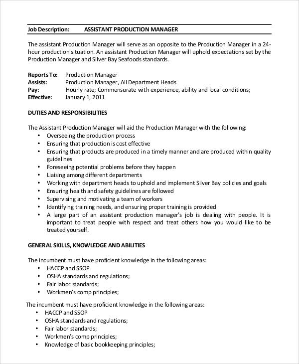 department manager job description