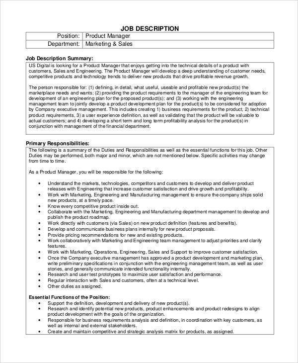 8+ Product Manager Job Description Samples Sample Templates