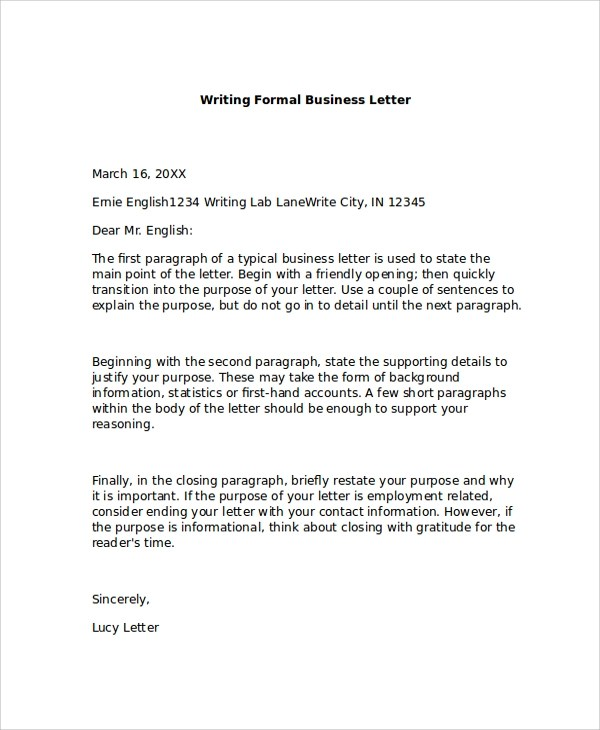 Formal Business Letter Format - 8+ Examples in PDF, Word - formal business letter formats