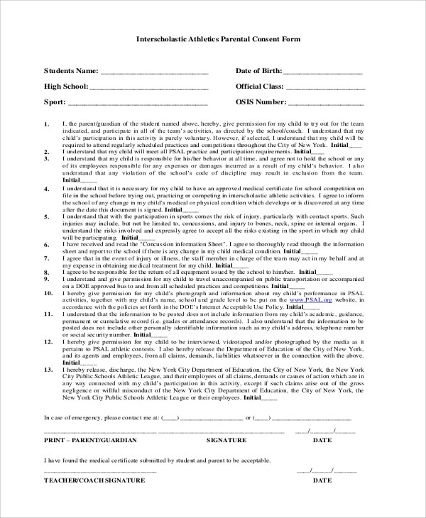 8+ Sample Consent Forms Sample Templates - parent consent forms