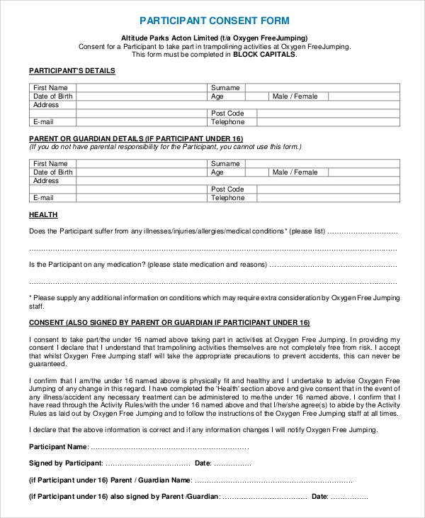 Sample Consent Form - 8+ Examples in Word, PDF - parent consent forms