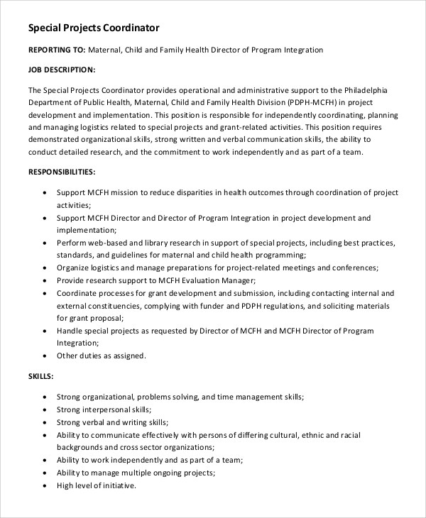 8+ Project Coordinator Job Description Samples Sample Templates - project coordinator job description