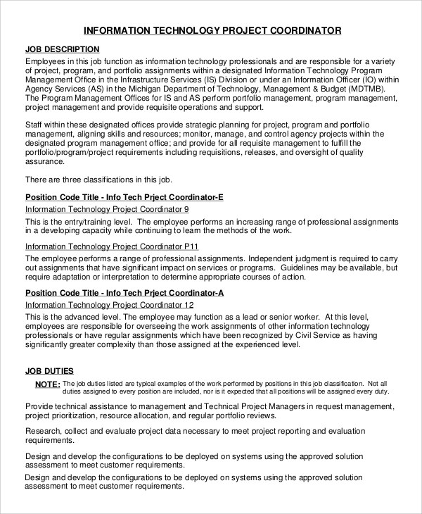 Program Coordinator Job Description It-Project-Coordinator-Job - quality control job description