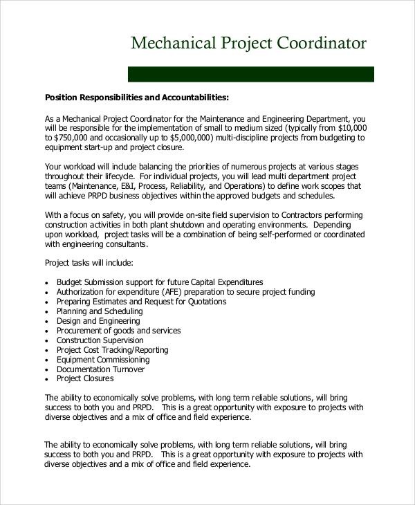 8+ Project Coordinator Job Description Samples Sample Templates - scheduling coordinator job description