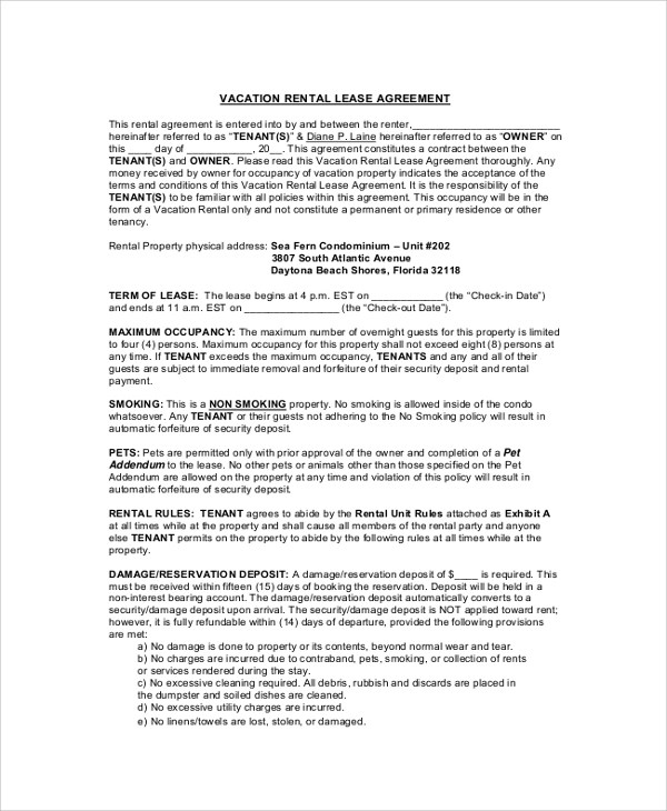 Florida House Rental Agreement Gallery - Agreement Letter Format