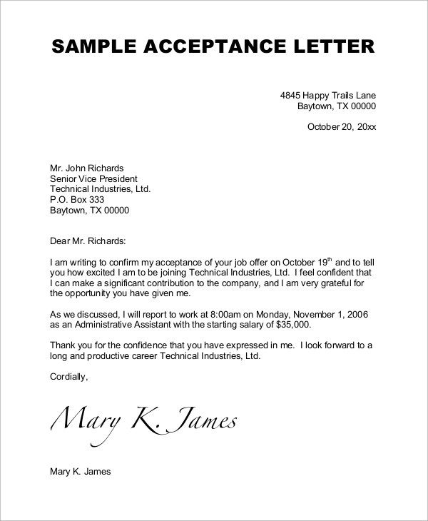 Free Sample Job Offer Letters Writeexpress Sample Job Acceptance Letter 7 Examples In Word Pdf